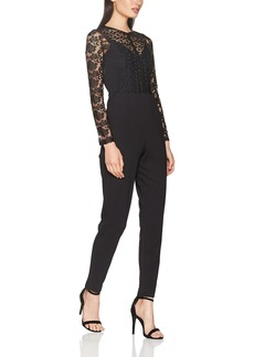 French Connection Women's Black Lace and Sheer Fitted Straight Leg Jumpsuit