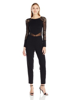 French Connection Women's Black Lace and Sheer Fitted Straight Leg Jumpsuit Tatlin