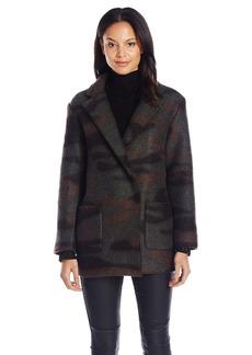 French Connection Women's Camo Felt Coat
