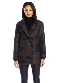 French Connection Women's Camo Felt Coat