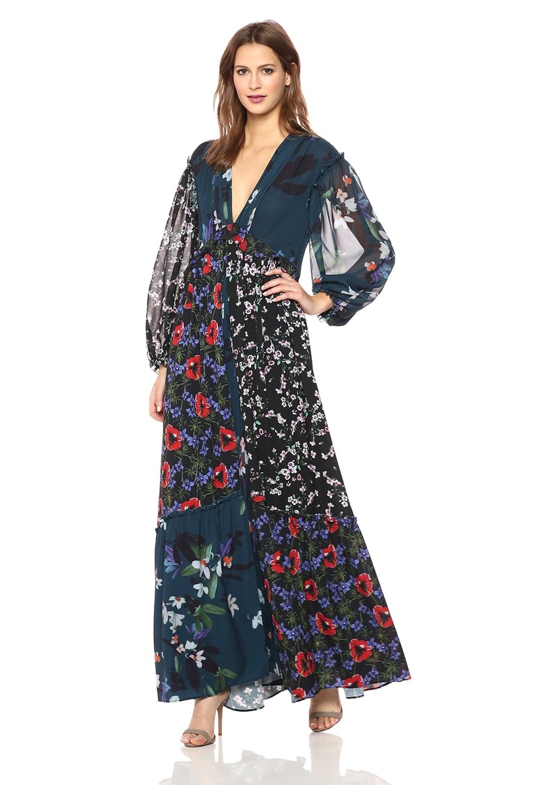French Connection Women's Celia Mix Floral Long Sleeved Maxi Dress