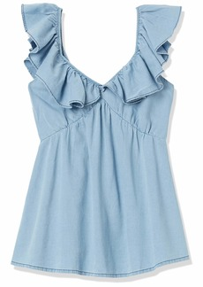 French Connection Women's Chambray Ruffle Tops