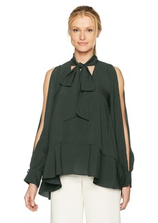 French Connection Women's Classic Crepe Light Cold Shoulder Top  M