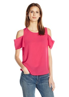 French Connection Women's Classic Crepe Light Cut Out Shoulder Top  S