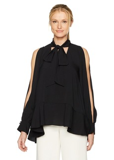 French Connection Women's Classic Crepe Light Woven Bow Top  S