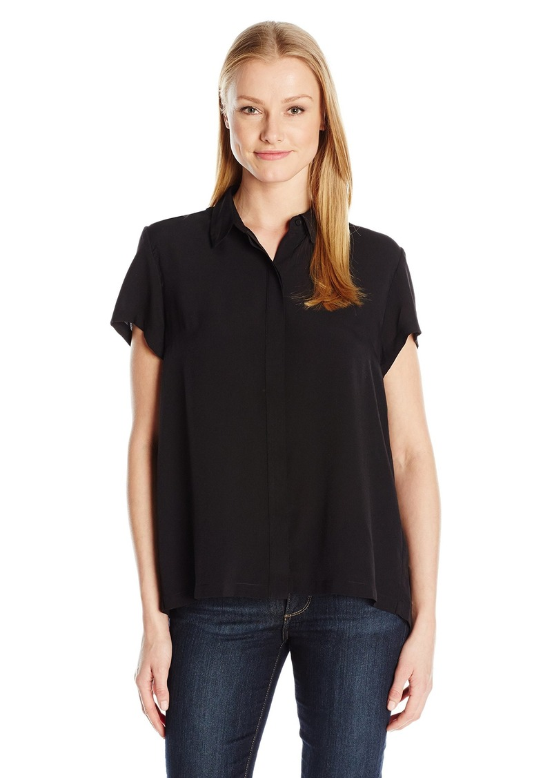 French Connection Women's Classic Crepe Short Sleeve Shirt  S