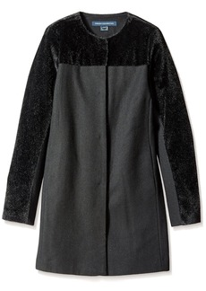 French Connection Women's Collarless Coat with Faux Fur