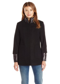 French Connection Women's Collarless Wool Detachable Jacket  L