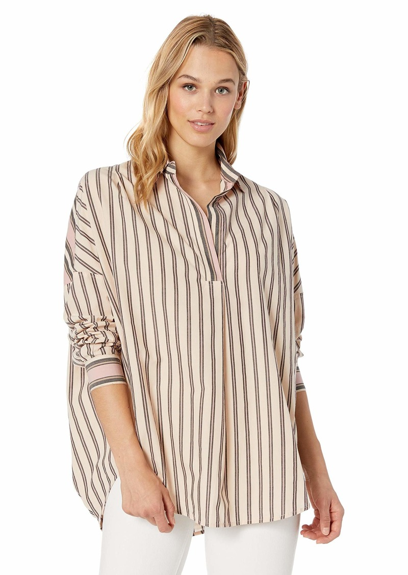 French Connection Women's Cotton Mix Stripe Pop Over Shirt  M