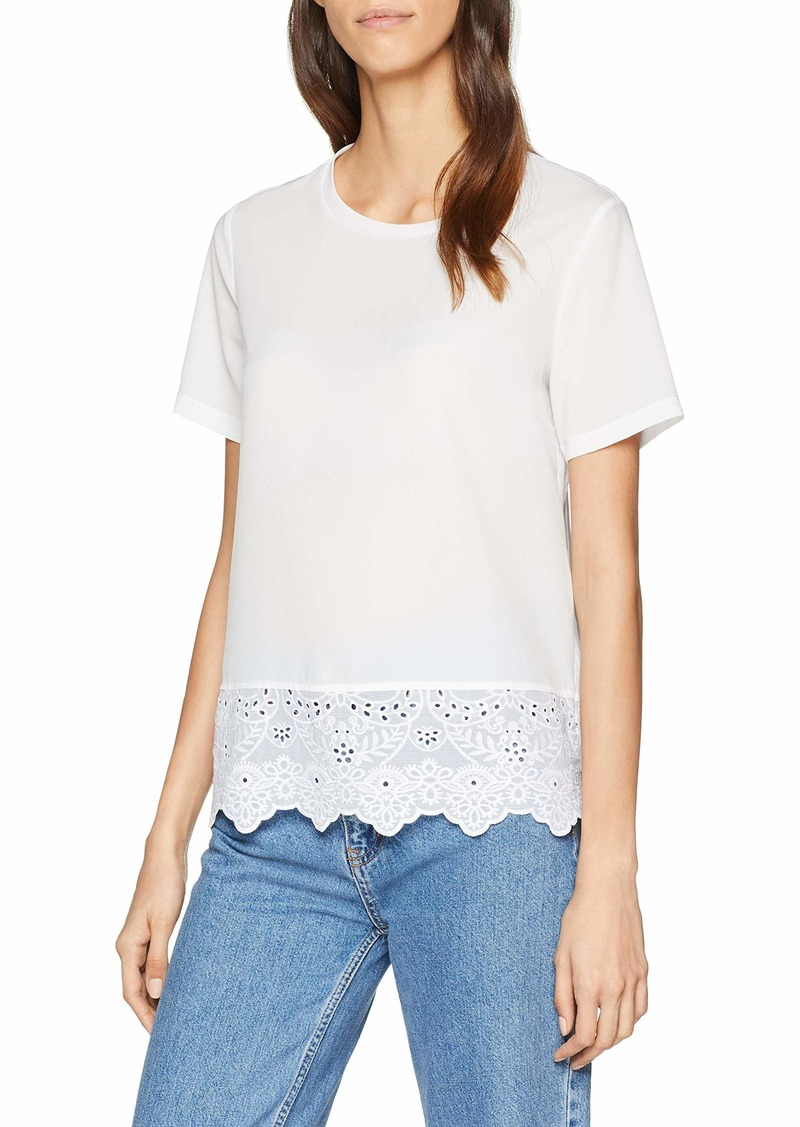 French Connection Women's Crepe Light Solid Jersey Lace Trim Top  M