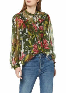 French Connection Women's Crinkle Printed Blouse  L