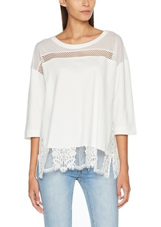 French Connection Women's Delos Core Sheer Lace Knit Crew Neck Top  XS