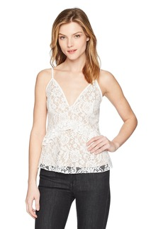 French Connection Women's Delos Lucky Layer Lace V-Neck Top  M