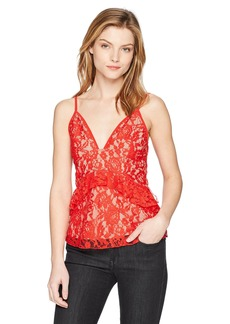 French Connection Women's Delos Lucky Layer Lace V-Neck Top Shanghai red/Almond Nude M