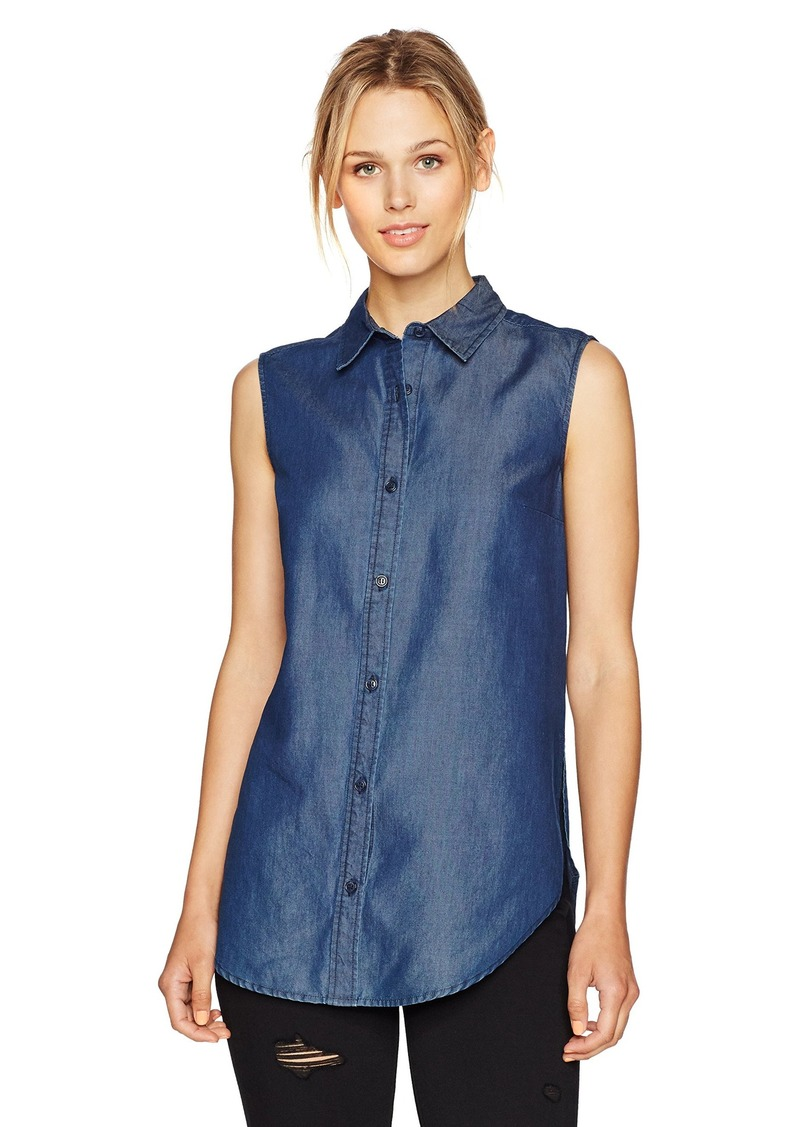 French Connection Women's Denim Chambray Lazy Linen Shirt