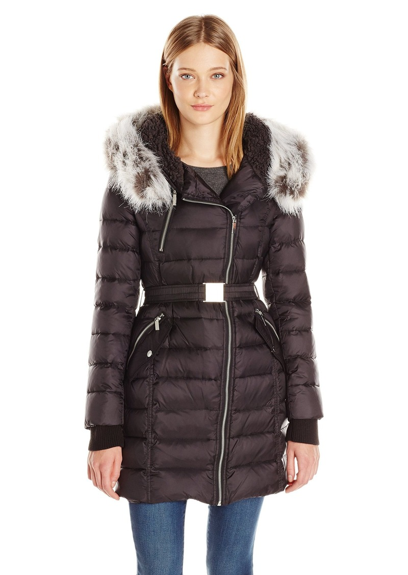 French Connection Womens Down Coat With Belt And Sherpa Lined Faux Fur Hood M
