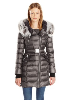 French Connection Women's Down Coat With Belt and Sherpa Lined Faux Fur Hood  XL