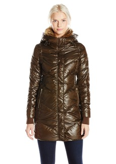 French Connection Women's Down Coat with Faux Fur Collar