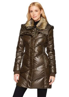 French Connection Women's Down Coat with Faux-Fur Collar  L