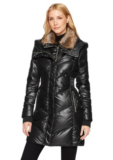 French Connection Women's Down Coat with Faux-Fur Collar  S