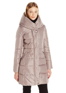French Connection Women's Down Coat with Pillow Collar  L