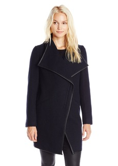 French Connection Women's Drape Front Textured Wool Coat