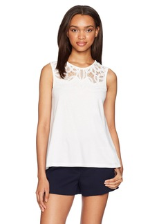 French Connection Women's Ekon Embellished Lace Jersey Top Summer White/DTM Embellishment S