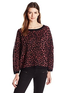 French Connection Women's Electric Leopard Knits Sweater  Large