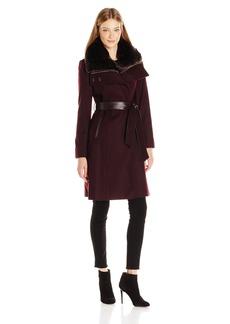 French Connection Women's Faux Fur Collar Detachable Bib Wool Coat