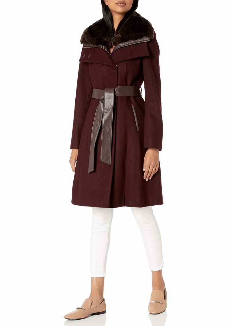 French Connection Women's Faux Fur Collar Detachable Bib Wool Coat