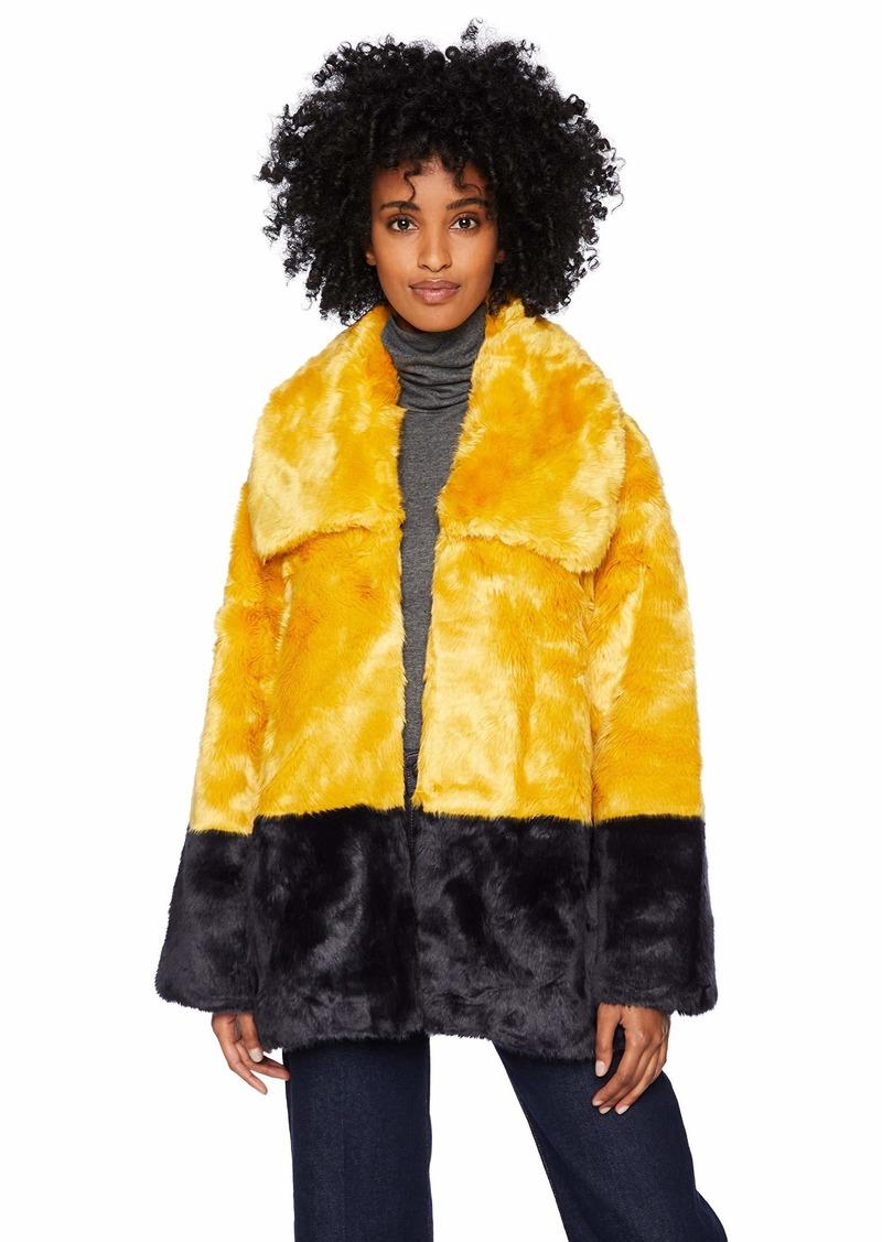 French Connection Women's Faux Fur Jackets CALLUNA YELLOW-UTILITY BLUE L