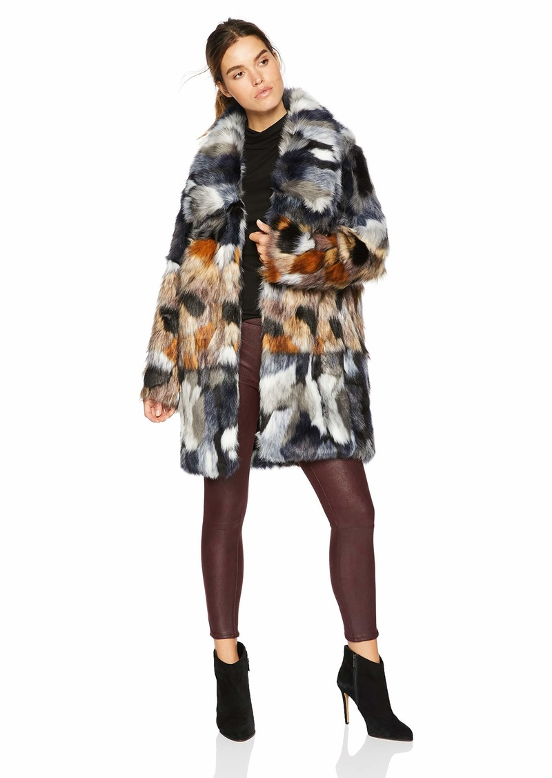 French Connection Women's Faux Fur Jackets utility blue/brown L