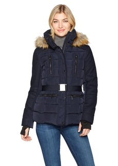 French Connection Women's Faux Fur Wool Belted Anorak  M