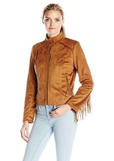 French Connection Women's Faux Suede Jacket with Fringe Sleeves