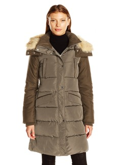 French Connection Women's Faux Wool Down Wind Coat  L