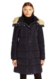 French Connection Women's Faux Wool Down Wind Coat