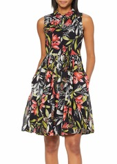 French Connection Women's Floral Sleeveless Drape Dress