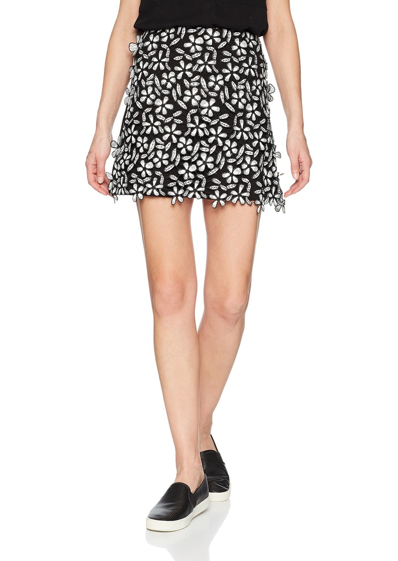 French Connection Women's Fulaga Floral Lace Overlay Mini Skirt Black/SMMR White