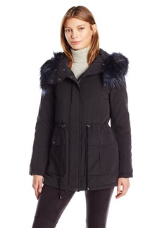 French Connection Women's Glamour Faux Fur Lined Anorak