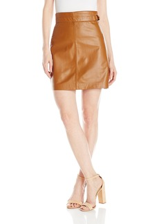 French Connection Women's Goldenburg Leather Skirt