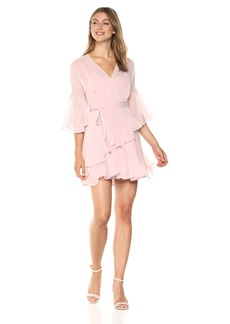 French Connection Women's Halle Crepe Ruffle WRAP Dress