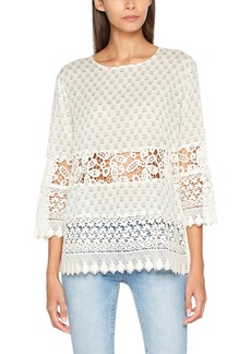 French Connection Women's Honshu Sheer Lace Paisley Print Long Sleeve Top