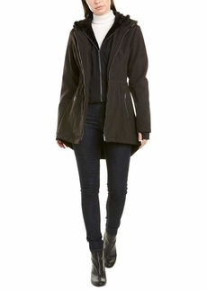 French Connection Women's Hooded Mixmedia Shoftshell Anorak W/Sherpa Lined Bib