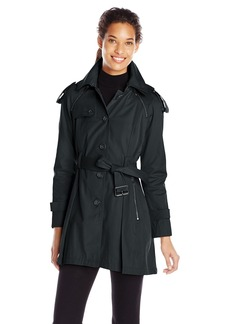 French Connection Women's Single Breasted Trench Coat with Pleated Back