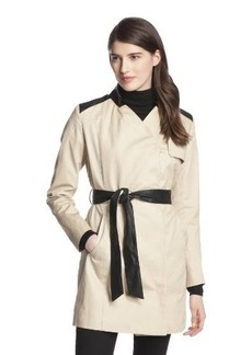 French Connection Women's Inverted Collar Contrast Trim Belted Trench Coat  arge