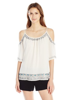 French Connection Women's Island Maze Cut Out Shoulder Top