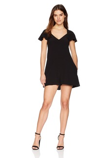 French Connection Women's Kozani Drape Short Sleeve Loose V-Neck Romper