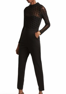 French Connection Women's Lace and Sheer Fitted Straight Leg Jumpsuit