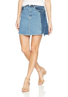 French Connection Women's Laos Two Tone Denim Jean Mini Skirt Blue
