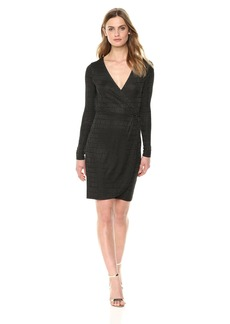 French Connection Women's Linear Jaquard Long Sleeve Wrap Dress